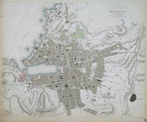 Marseille. Ancient Massilia. London, 1840. Original outline colou