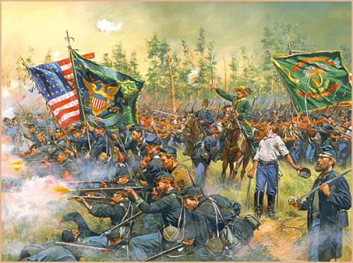 GenMeagher leads the 69th NY of Irish Brigade  at Battle of Gaines Mill