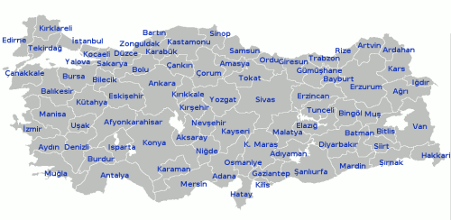 MapTurkeyProvinces