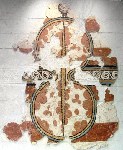Reconstructed Mycenaean fresco of a figure of eight shield